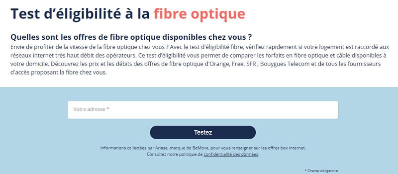 test d'éligibilité à la fibre grâce à l'adresse