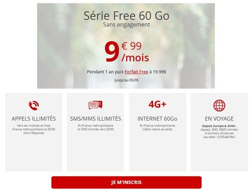 Détails de l'offre promotionnelle Free Mobile à 9,99 euros par mois jusqu'au 5 mai 2020