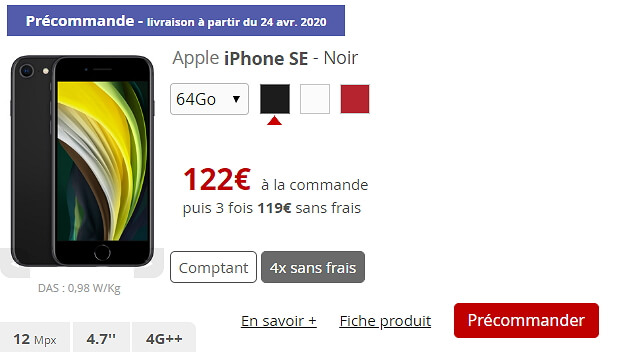 Tarif de l'iPhone SE 2020 chez Free Mobile