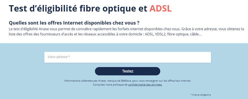Test éligibilité ADSL
