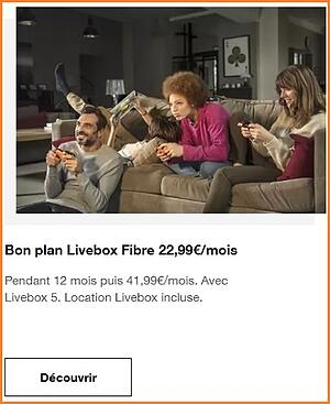 La Livebox d'Orange est à 22,99€/mois.