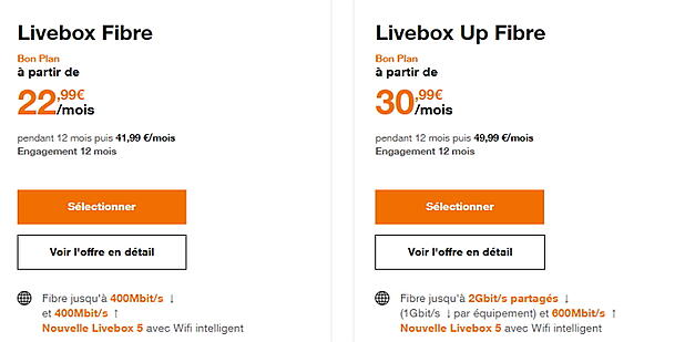 Fibre Orange : avec Livebox 5 en avril 2020