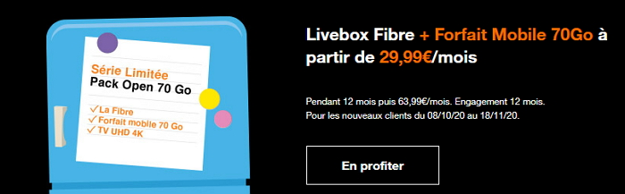 Box + mobile Orange : la série limitée Open 70 Go en promotion