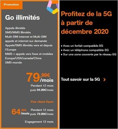 Orange a créé un forfait 5G avec data illimitée