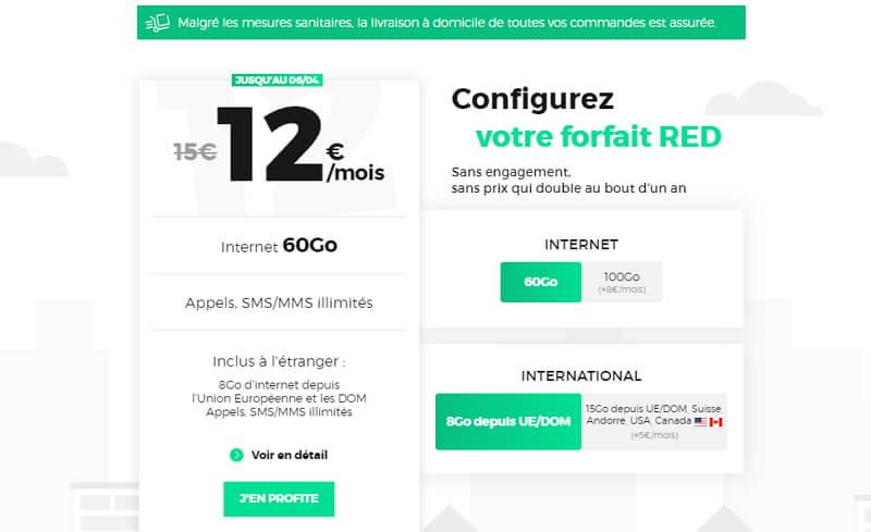 Détail et souscription du forfait RED 60 go à 12 euros par mois