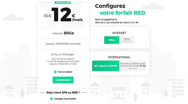 Le forfait RED 50 Go est à seulement 12€/mois.