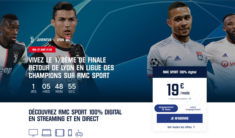 Souscription à l'offre RMC Sport 100% digital à 19 euros par mois