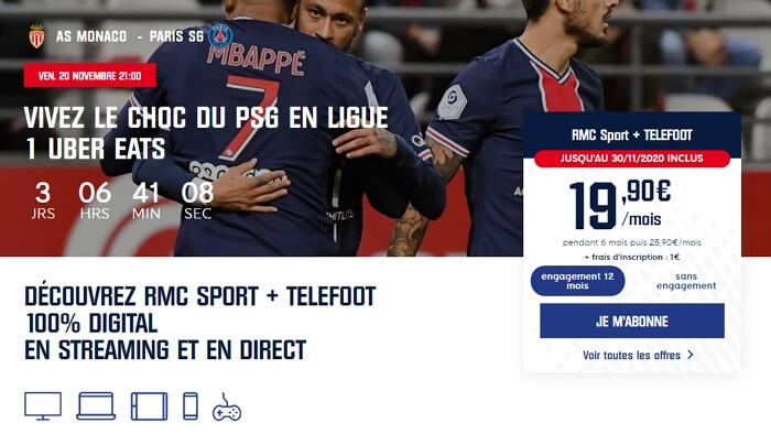 Abonnement RMC Sport avec Téléfoot en promotion en novembre 2020
