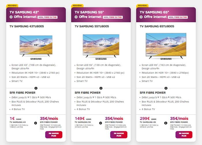 Box SFR avec TV Samsung : trois dimensions disponibles