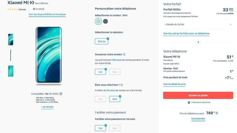 Souscription du forfait Bouygues pour Xiaomi Mi 10