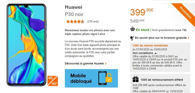 Le Huawei p30 pas cher grâce à une double remise chez Orange : 299,90 euros