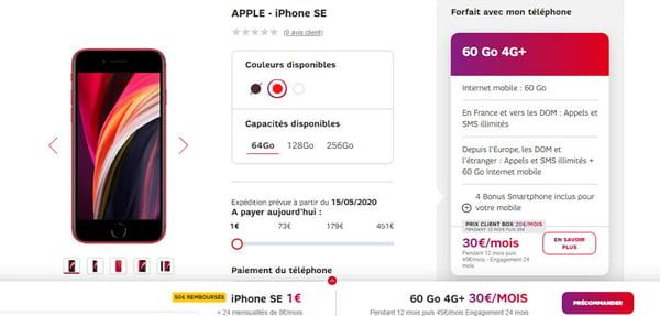 l'iPhone SE à 1€ avec un forfait 60 Go SFR