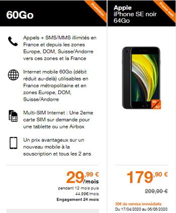 Prix de l'iPhone SE 2020 avec un forfait Orange 60 Go