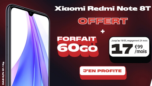 Redmi Note 8T pas cher : le téléphone offert avec un forfait à 17,99 euros par mois chez NRJ mobile