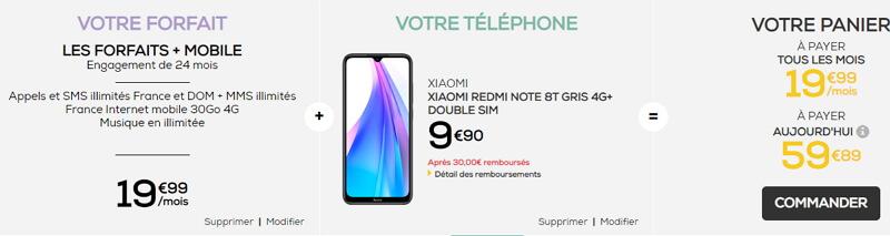 Redmi Note 8  pas cher chez La Poste Mobile : 9,90 euros avec un forfaitt 30 Go