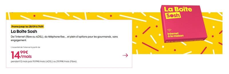 Promo internet sosh en septembre 2020 : 14,99€/mois