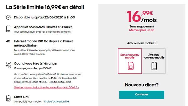 Prix et caractéristiques du forfait Sosh 100 Go en série limitée à 16,99 euros par mois.