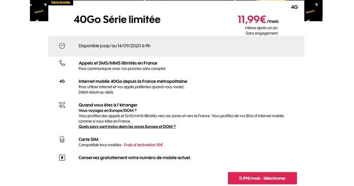 Les details du forfait en promo Sosh 40 Go à 11,99 euros par mois