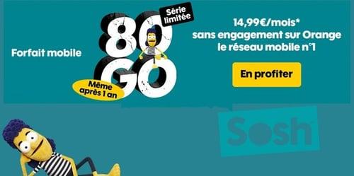 La série limitée Sosh 80 Go est à moins de 15€/mois