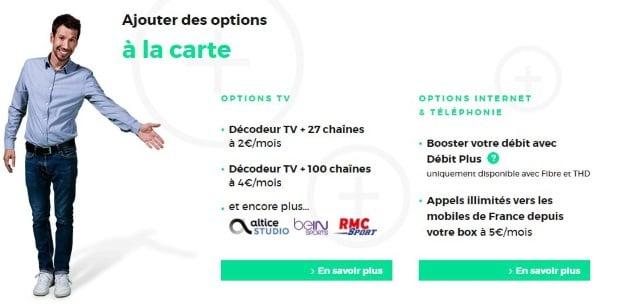 Red box : les options