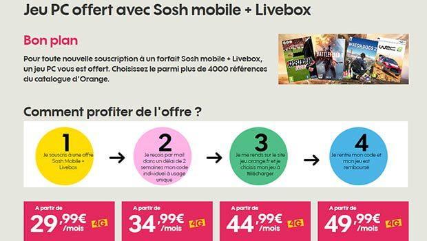 Un jeu PC offert chez Sosh mobile + Livebox