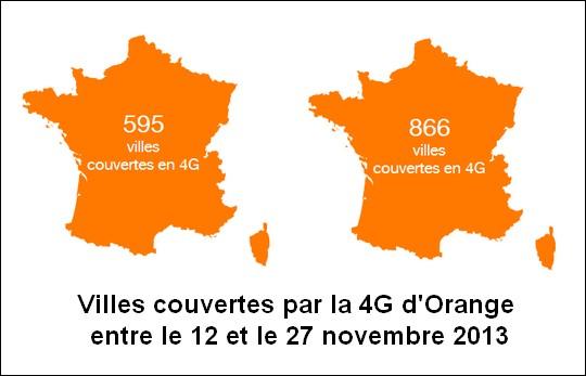 Couverture 4G d'Orange le 27 novembre 2013