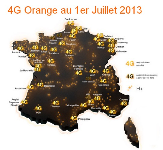 Carte couverture 4G Orange juillet 2013