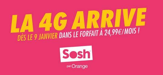 Sosh intègre la 4G dans son forfait mobile à 24.99€