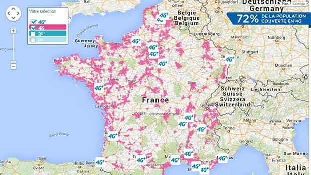 La carte du déploiement 3G, 4G et 4G+ de Bouygues Telecom