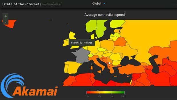 La carte du monde des connexions Internet Akamai
