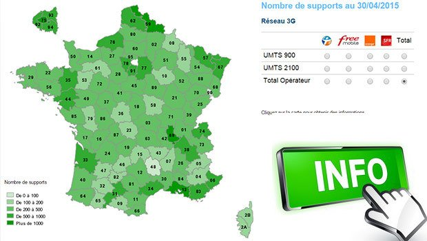 La 3G en France selon la carte ANFR