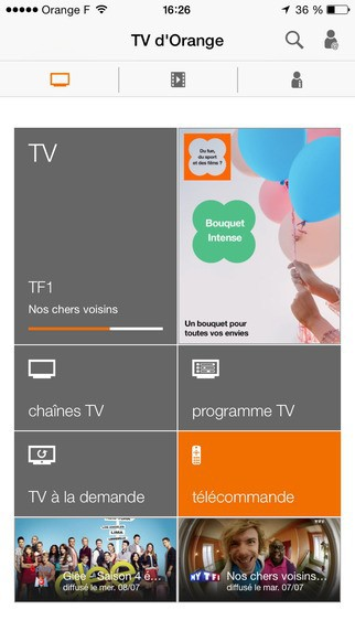Télécommande virtuelle sur l'application TV d'Orange