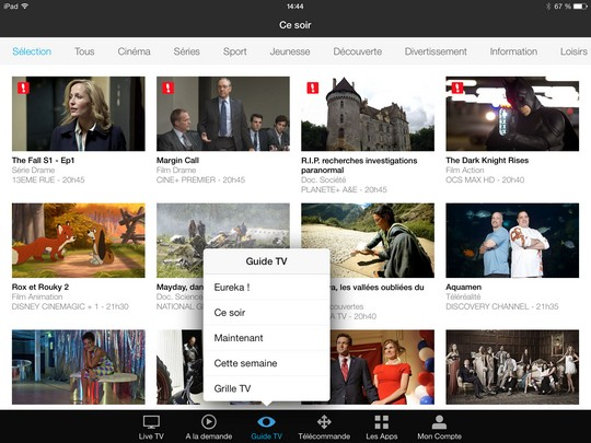 Télécommande virtuelle Canal Touch