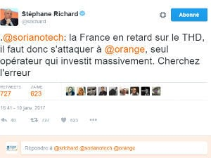 Tweet rageur de Stéphane Richard d'Orange