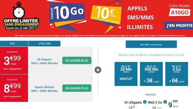 Série Limitée Auchan Telecom 10€ à 10Go
