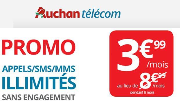 -5€ pendant 6 mois sur le forfait sans engagement illimité Auchan Télécom