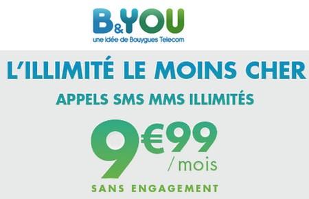 Forfait mobile illimité B&YOU à 9.99€/mois