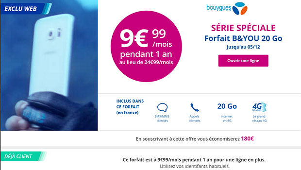 B&You à 9,99€/mois pour 20Go