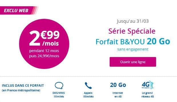 Bouygues : forfait 20 Go à moins de 3 euros