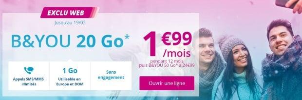 Bouygues : forfait B&You 20 Go à 2 euros