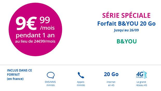 Forfait B&You 20Go à 9,99e/mois