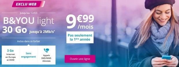 Bouygues : forfait B&You 30 Go, prix sans limite de durée