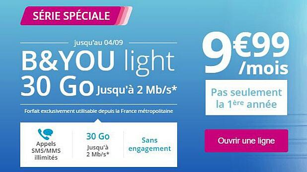 Bouygues : offre 30 Go B&You Light