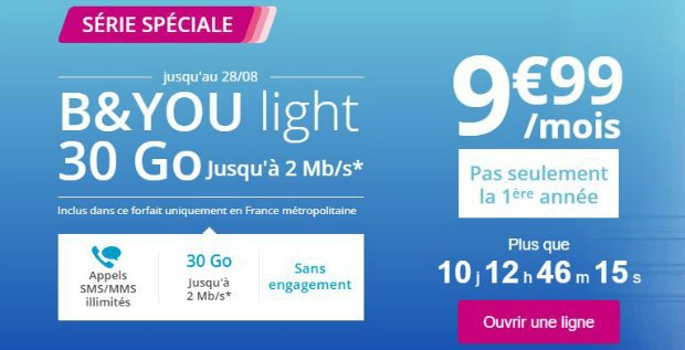 Bouygues : forfait 30 Go à 9,99€/mois a 2 Mb/s maximum