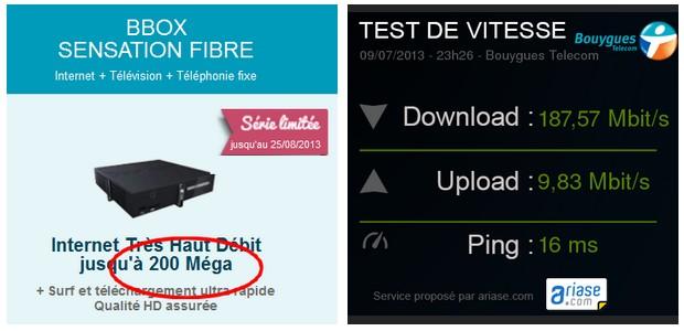 test de débit 200 Mbit/s sur la Bbox Fibre