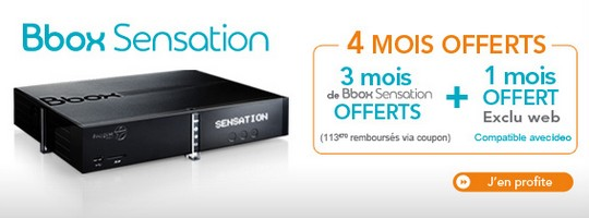 Bouygues offre 4 mois d'abonnement sur la Bbox Sensation
