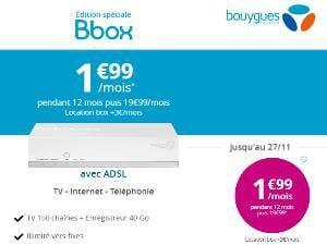 Bouygues : promo Bbox ADSL& VDSL2 à 1,99€/mois
