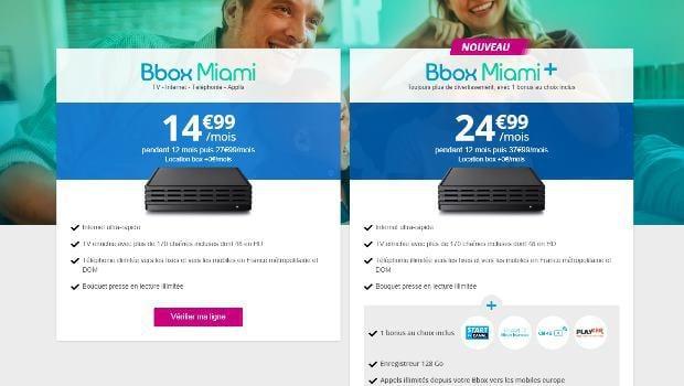 Promotions Bouygues sur les Bbox Miami
