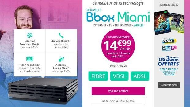 L'offre Canal avec la Bbox Miami