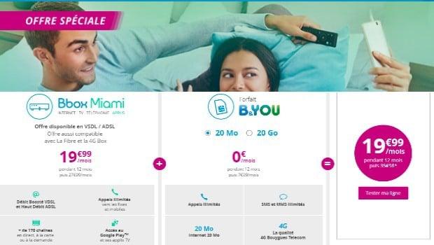 Offre couplée Bbox Miami + B&You